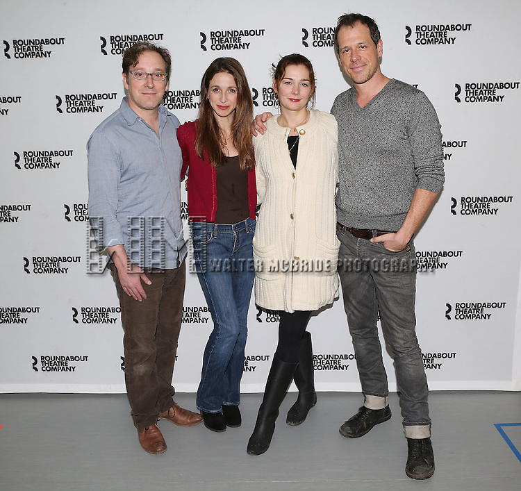 Jeremy Shamos, Marin Hinkle, Heather Burns and Darren Pettie attend the Photo Call for the Roundabout Theatre Company's 'Dinner with Friends' at their rehearsal studio on December 20, 2013 in New York City.