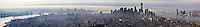 US, New York City. View from the Empire State Building observation deck. Lower Manhattan, stitched panorama.