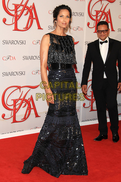 Padma Lakshmi.The 2012 CFDA Fashion Awards held at Alice Tully Hall - Lincoln Center, New York, NY, USA..June 4th, 2012 .full length black blue sleeveless dress lace beads beaded .CAP/LNC/TOM.©LNC/Capital Pictures.