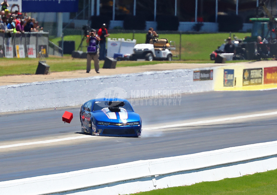 May 7, 2017; Commerce, GA, USA; NHRA pro mod driver Larry Morgan loses control during the Southern Nationals at Atlanta Dragway. Mandatory Credit: Mark J. Rebilas-USA TODAY Sports