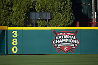 The 2010 NCAA National Champions logo is displayed on the outfield wall at Founders Park during the NCAA baseball game between the Holy Cross Crusaders and the South Carolina Gamecocks on February 15, 2020 in Columbia, South Carolina. The Gamecocks defeated the Crusaders 9-4.  (Brian Westerholt/Four Seam Images)