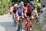 Alessandro De Marchi (ITA) BMC Racing Team, Thibaut Pinot (FRA) Groupama-FDJ and Bauke Mollema (NED) Trek-Segafredo from the breakaway group during Stage 11, the longest of this year's race, of the La Vuelta 2018, running 207.8km from Mombuey to Ribeira Sacra. Luintra, Spain. 5th September 2018.<br /> Picture: Unipublic/Photogomezsport | Cyclefile<br /> <br /> <br /> All photos usage must carry mandatory copyright credit (&copy; Cyclefile | Unipublic/Photogomezsport)