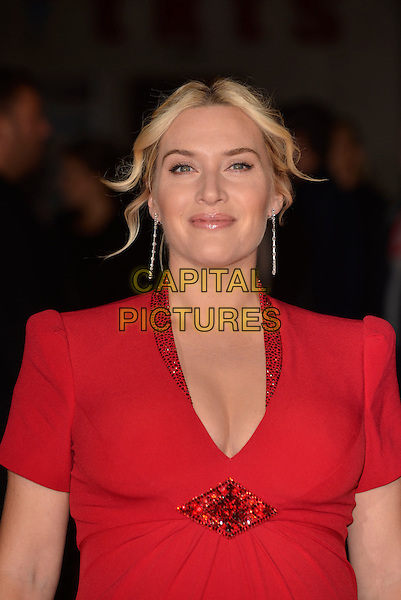 Kate Winslet<br /> 'Labor Day' Gala European Premiere during the 57th BFI London Film Festival at the Odeon Leicester Square cinema, London, England 14th October 2013.<br /> headshot portrait red beads beaded collar cleavage <br /> CAP/PL<br /> &copy;Phil Loftus/Capital Pictures
