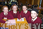 PRIMARY; Pupils from St Josephs Primary  School, Caherciveen who entered in the chapter 23 school table quiz in Ballyroe Heights Hotel, Tralee on Sunday, L-r:Grainne Doneghan, Ellen Murphy, laura O'Connor and Dervla Donegan................... . ............................... ..........