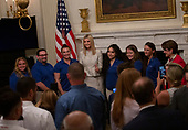 Advisor to the President Ivanka Trump takes photos with attendees of the one year celebration of the Pledge to America's Workers at the White House in Washington D.C., U.S. on July 25, 2019.<br /> <br /> Credit: Stefani Reynolds / CNP