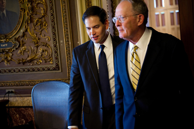 UNITED STATES - APRIL 24: Sen. Marco Rubio, R-Fl., and Sen. Lamar Alexander, R-Tn., at the weekly Senate policy luncheons. (Photo By Chris Maddaloni/CQ Roll Call)