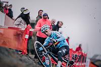 Eli Iserbyt (BEL/Marlux-Bingoal) slipping off the camber<br /> <br /> Men&rsquo;s U23 race<br /> <br /> UCI 2019 Cyclocross World Championships<br /> Bogense / Denmark<br /> <br /> &copy;kramon