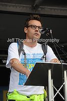 Peoples March for the NHS - Central London, Saturday 6th Sept 2014 - <br /> <br /> An NHS Doctor speaks in support<br /> <br /> <br /> Photographer: Jeff Thomas - Jeff Thomas Photography - 07837 386244/07837 216676 - www.jaypics.photoshelter.com - swansea1001@hotmail.co.uk
