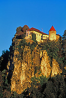 Bled Castle on high rock above waters of Lake Bled, at city of Bled, Slovenia, AGPix_0547.