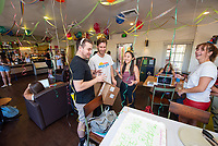 Students, staff, alumni and former staff celebrate the 10th anniversary of Occidental College's student-run cafe, the Green Bean Coffee Lounge, on Wednesday, Oct. 23, 2019 in the Johnson Student Center.<br /> (Photo by Marc Campos, Occidental College Photographer)