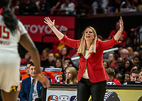 COLLEGE PARK, MD - JANUARY 26: Brenda Frese calls out a play during a game between Northwestern and Maryland at Xfinity Center on January 26, 2020 in College Park, Maryland.