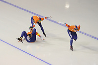 SPEEDSKATING: CALGARY: Olympic Oval, 02-12-2017, ISU World Cup, Team Pursuit Ladies, Lotte van Beek (NED), Marrit Leenstra (NED), Antoinette de Jong (NED), ©photo Martin de Jong
