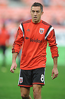 Washington, D.C.- March 29, 2014. Davy Arnaud (8) of D.C. United.  D.C. United defeated the New England Revolution 2-0 during a Major League Soccer Match for the 2014 season at RFK Stadium.
