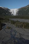 Exit Glacier and the outwash plain in Kenai Fjords National Park, Alaska.