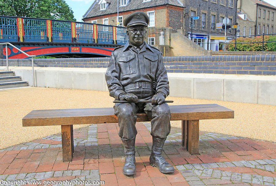 Captain Mainwaring, actor Arthur Lowe, sculpture, Thetford, Norfolk, England, UK  by Sean Hedges-Quinn 2010