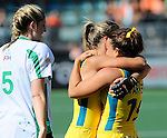 The Hague, Netherlands, June 12: Ashleigh Nelson #8 of Australia and Georgie Parker #19 of Australia celebrate after the field hockey semi-final match (Women) between USA and Australia on June 12, 2014 during the World Cup 2014 at Kyocera Stadium in The Hague, Netherlands. Final score after full time 2-2 (0-1). Score after shoot-out 1-3. (Photo by Dirk Markgraf / www.265-images.com) *** Local caption ***