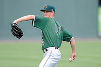 Pitcher Chase Johnson (41) of the Augusta GreenJackets before a game against the Greenville Drive on Friday, July 11, 2014, at Fluor Field at the West End in Greenville, South Carolina. Greenville won, 7-6. (Tom Priddy/Four Seam Images)