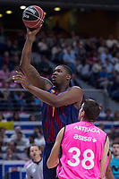 Estudiantes Victor Arteaga and FC Barcelona Lassa Kevin Seraphin during Liga Endesa match between Estudiantes and FC Barcelona Lassa at Wizink Center in Madrid, Spain. October 22, 2017. (ALTERPHOTOS/Borja B.Hojas) /NortePhoto.com