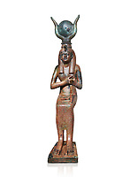 Ancient Egyptian bronze statue , Old Kingdom. Egyptian Museum, Turin. white background,
