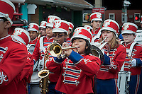 IS 318 marching band in the annual Three Kings Day Parade in the Bushwick neighborhood of Brooklyn on Sunday, January 8, 2012. Neighborhood school children marched with residents, camels and kings in their celebration of the Epiphany. Many in the Latino community celebrate the traditional December 25 Christmas and the Epiphany. (© Richard B. Levine)