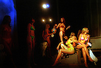 MACEDONIA. Skopje. 01 July 2001..Contestants wait to go on stage in the bikini section of the  Miss Macedonia contest in Skopje..©Andrew Testa