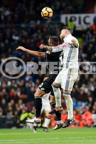 Real Madrid Sergio Ramos and Deportivo de la Coruña Florin Andone during La Liga match between Real Madrid and Deportivo de la Coruña at Santiago Bernabeu Stadium in Madrid, Spain. December 10, 2016. (ALTERPHOTOS/BorjaB.Hojas) /NORTEPHOTO.COM