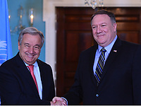 Washington, DC - June 23, 2018: U.S. Secretary of State Michael Pompeo meets with United Nations Secretary General António Guterres at the Department of State June 23, 2018.  (Photo by Don Baxter/Media Images International)