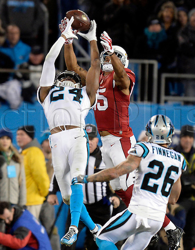 24.01.2016 . Charlotte, NC, USA.  Carolina Panthers cornerback Josh Norman (24) breaks up a pass into ended for Arizona Cardinals wide receiver Michael Floyd (15) during the fourth quarter of the NFC Championship game on Sunday, Jan. 24, 2016, at Bank of America Stadium in Charlotte, N.C