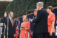 Louis J. Freeh is sworn-in as FBI Director in Washington, DC on September 1, 1993.  From left to right: FBI Director Louis J. Freeh, Mrs. Louis J. Freeh (Marilyn), United States President Bill Clinton, [unidentified Judge], and Attorney General Janet Reno.<br /> Credit: Ron Sachs / CNP /MediaPunch