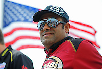 Jun. 29, 2012; Joliet, IL, USA: NHRA top fuel dragster driver Khalid Albalooshi during qualifying for the Route 66 Nationals at Route 66 Raceway. Mandatory Credit: Mark J. Rebilas-