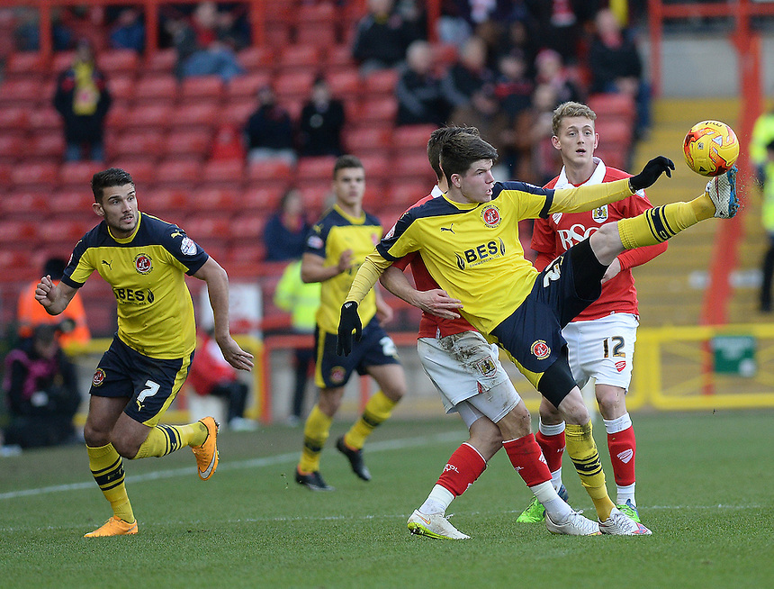 Fleetwood Town's Liam Mcslinfrn in action during todays match  <br /> <br /> Photographer Ashley Crowden/CameraSport<br /> <br /> Football - The Football League Sky Bet League One - Bristol City v Fleetwood Town - Sunday 1st February 2015 - Ashton Gate - Bristol<br /> <br /> &copy; CameraSport - 43 Linden Ave. Countesthorpe. Leicester. England. LE8 5PG - Tel: +44 (0) 116 277 4147 - admin@camerasport.com - www.camerasport.com