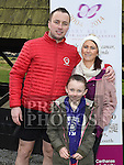 Stephen Geraghty pictured at Oldbridge House with partner Lisa and daughter Summer on the last leg of  his challenge to run six Kilometers every day in 2016. Photo:Colin Bell/pressphotos.ie
