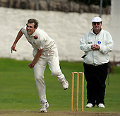 Carlton CC V Grange CC, Scottish National Cricket League, Premier Division, at Grange Loan, Edinburgh - Grange's Alan Wise, who took 3 wickets in the match, puts down an effort ball, past umpire Alex Dowdalls - Picture by Donald MacLeod 25.07.09