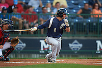 Pensacola Blue Wahoos outfielder Beau Amaral (8) at bat during a game against the Mississippi Braves on May 28, 2015 at Trustmark Park in Pearl, Mississippi.  Mississippi  defeated Pensacola 4-2.  (Mike Janes/Four Seam Images)