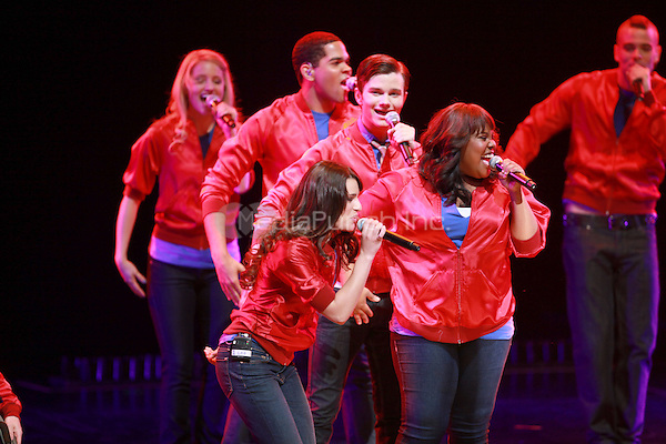 Lea Michele, Amber Riley, Chris Colfer and Mark Salling performing at the Glee Concert Tour. The Gibson Amphitheatre at Universal City Walk in Los Angeles, California. May 20, 2010.Credit: Dennis Van Tine/MediaPunch
