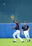 11 March 2008: Cleveland Indians' outfielder Ben Francisco pulls in a fly ball during a Spring Training game against the Detroit Tigers at Chain of Lakes Park, in Winter Haven Florida. The Tigers rallied to defeat the Indians 4-2 in the Grapefruit League matchup...Mandatory Photo Credit: Ed Wolfstein Photo