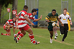M Tokalau chips ahead past C Tuoro  & H Tupou. Karaka vs Pukekohe Premier Round 1 game played at Karaka on the 14th of April 2007. Karaka lead at half time by 17 - 6 and went on to win by 23 - 6.