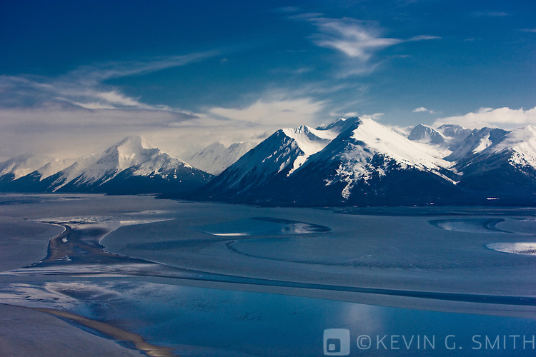 Aerial photo of Turnaigain Arm and the Kenai Mountains, late winter, Southcentral Alaska, USA.