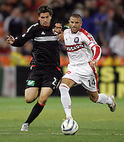 9 April 2005.   Chicago Fire midfielder Chris Armas (14) takes the ball away from DC United's Santino Quaranta (25) at RFK Stadium in Washington, DC.