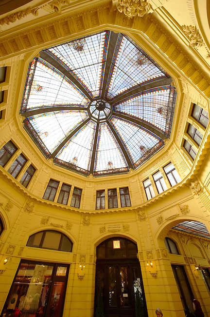 Octogon and its stained glass roof, the First Savings Bank of Croatia building [ 1898-1900 ]. , Zagreb, Croatia
