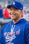 7 October 2016: Los Angeles Dodgers Manager Dave Roberts watches batting practice prior to the first game of the NLDS against the Washington Nationals at Nationals Park in Washington, DC. The Dodgers edged out the Nationals 4-3 to take the opening game of their best-of-five series. Mandatory Credit: Ed Wolfstein Photo *** RAW (NEF) Image File Available ***