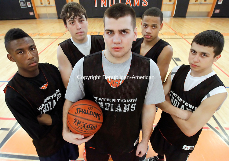 Watertown, CT-16 March 2012-031612CM05- Watertown's Chaz Oates, Ed Hill, Tom O'Brien, Jonathan Mitchell and Anthony Chacho will face Waterford for the Class M state championship tomorrow afternoon at Mohegan Sun.   Christopher Massa Republican-American