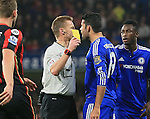 Chelsea's Diego Costa gets booked and appears to square up to referee Mike Jones<br /> <br /> Barclays Premier League - Chelsea v AFC Bournemouth - Stamford Bridge - England - 5th December 2015 - Picture David Klein/Sportimage