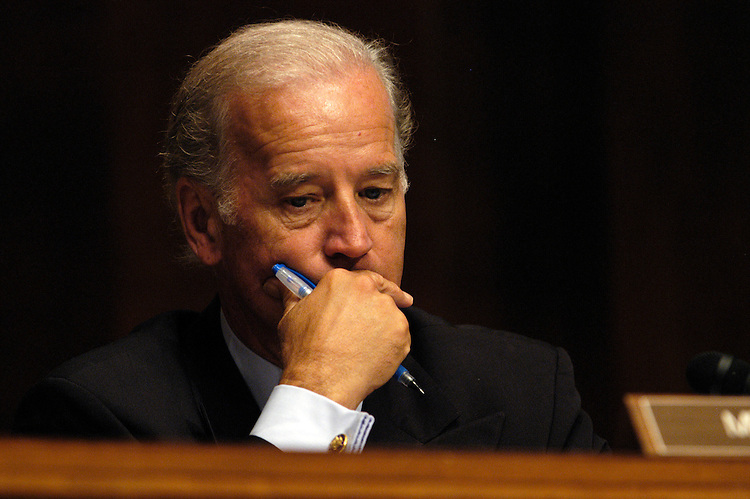 "Sen. Joseph Biden, D-De., at a Senate Judiciary Committee hearing  on ""Reauthorization of the Violence Against Women Act.""."
