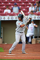 Kane County Cougars catcher Michael Perez (9) at bat during a game against the Cedar Rapids Kernels on August 18, 2015 at Perfect Game Field in Cedar Rapids, Iowa.  Kane County defeated Cedar Rapids 1-0.  (Mike Janes/Four Seam Images)