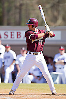 Matt Leeds #17 of the College of Charleston Cougars at bat against the Davidson Wildcats at Wilson Field on March 12, 2011 in Davidson, North Carolina.  The Wildcats defeated the Cougars 8-3.  Photo by Brian Westerholt / Four Seam Images