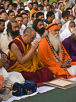 Religious leaders participate in a PRAYER FOR WORLD PEACE sponsored by the14th Dalai Lama of Tibet at the RAJ GHAT (Ghandi's eternal flame) in April of 2008 -  NEW DELHI, INDIA