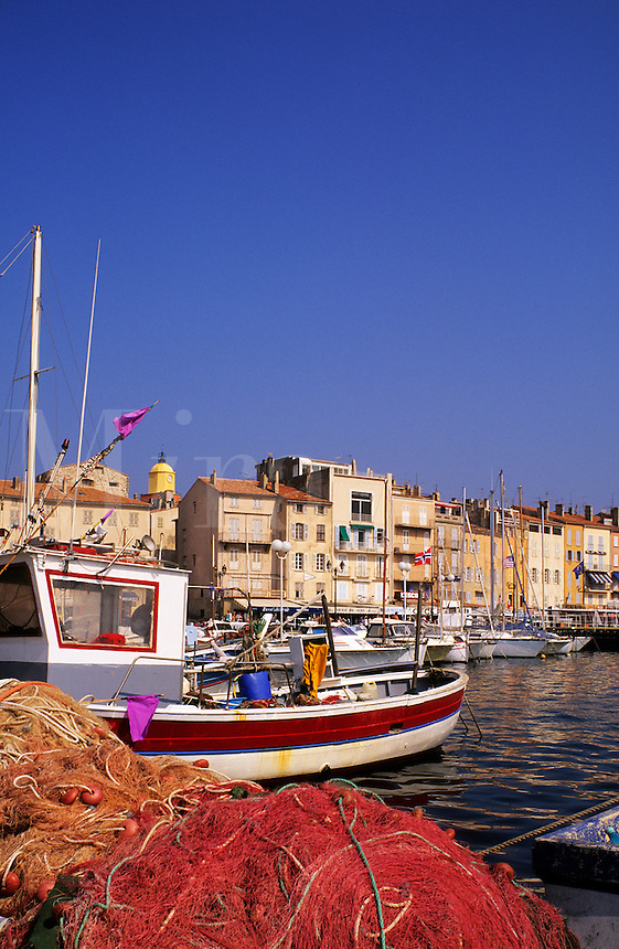 France, Provence. St. Tropez waterfront from the fishing harbor/harbour. Var..