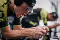 Michael Hepburn (AUS/Mitchelton Scott) working a sweat while warming up for the TT<br /> <br /> Stage 20 (ITT): Saint-Pée-sur-Nivelle >  Espelette (31km)<br /> <br /> 105th Tour de France 2018<br /> ©kramon