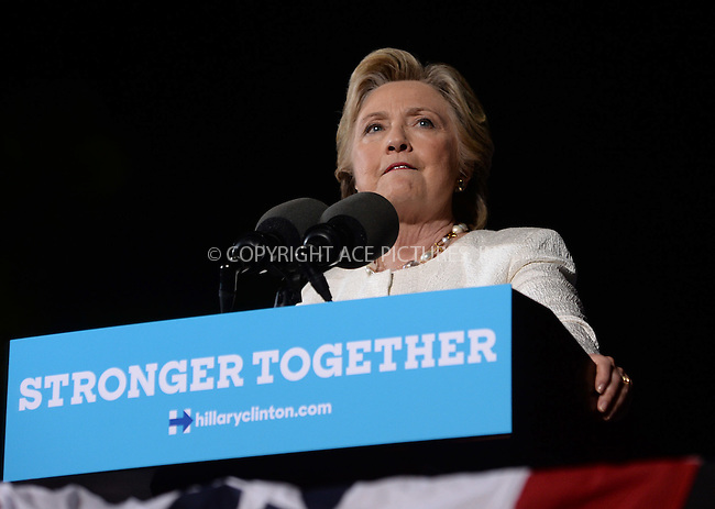 www.acepixs.com<br /> <br /> November 1 2016, Ft Lauderdale<br /> <br /> Democratic presidential nominee Hillary Clinton speaks at a campaign rally at the Rev Samuel Deleove Memorial Park on November 1, 2016 in Ft Lauderdale, Florida.<br /> <br /> By Line: Solar/ACE Pictures<br /> <br /> ACE Pictures Inc<br /> Tel: 6467670430<br /> Email: info@acepixs.com<br /> www.acepixs.com